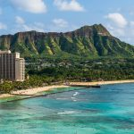 Hawaii panoramic Honolulu city travel landscape banner background of Waikiki beach and Diamond Head mountain peak at sunset, Oahu island, USA vacation.